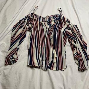 Striped open shoulder blouse